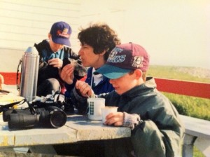 Cathy and son Colin eating on Machias Seal Island